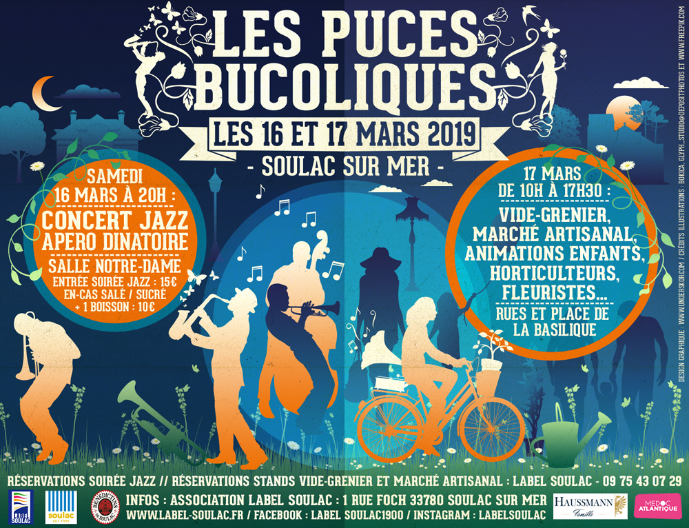 Puces bucoliques et concert jazz, 16 et 17 mars 2019, Soulac sur Mer, Association Label Soulac